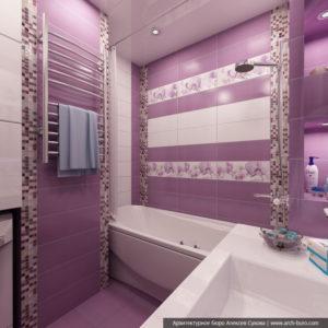 Дизайн ванной комнаты в сиреневых тонах