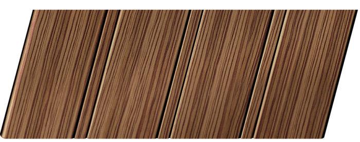 Реечный потолок с фактурой темное дерево (зебрано) 84 R, цвет: панель - 208