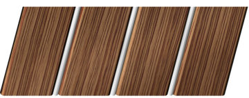 Реечный потолок с фактурой темное дерево (зебрано) 84 R(V), цвет: панель - 208, профиль - 141
