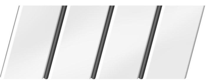Матовый реечный потолок 84 R(V), цвет: панель - 140, профиль - 288