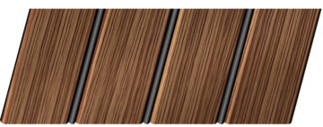 Реечный потолок с фактурой темное дерево (зебрано) 84 R(V), цвет: панель - 208, профиль - 288