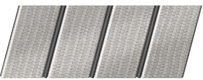 Реечный потолок с фактурой кожи 84 R(V), цвет: панель - 500, профиль - 288
