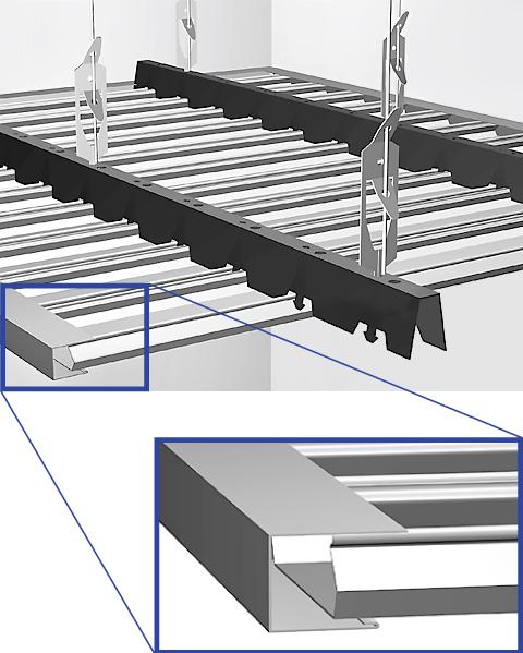 Сборка панелей реечного потолка