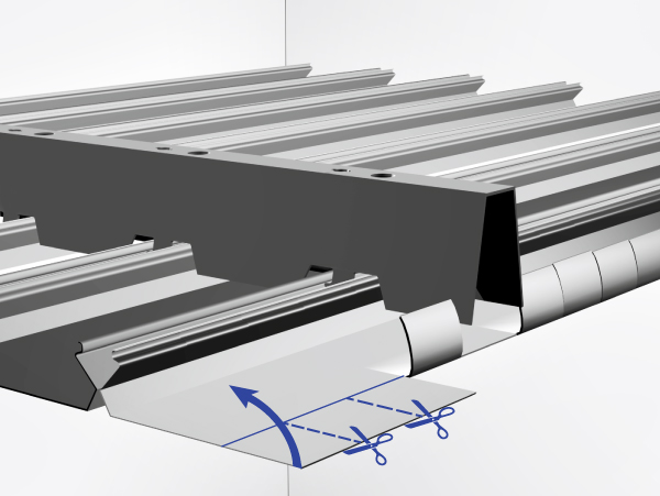 Подрезка панели реечного потолка