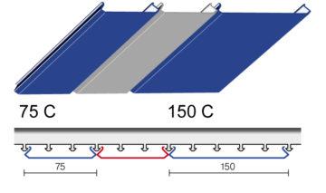 Вариант дизайна 75 C и 150 C реечного потолка