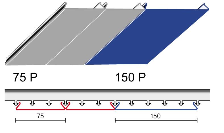 Вариант дизайна 75 P и 150 P реечного потолка