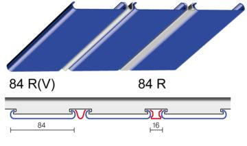 Вариант дизайна 84R(V) и 84 R реечного потолка