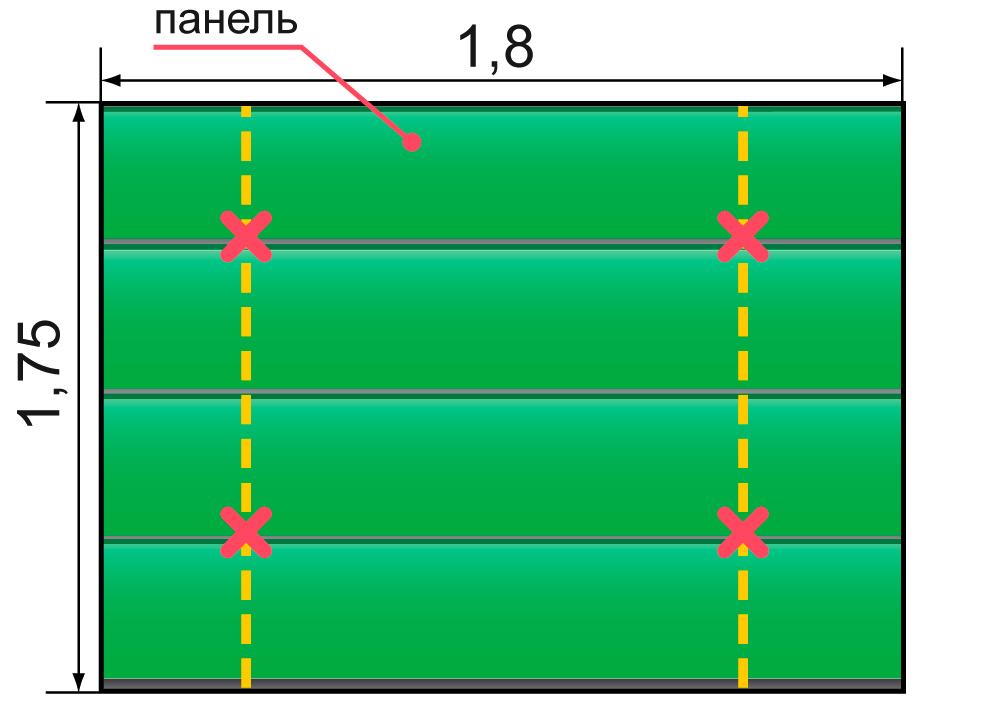 Пример расчета потолка для дизайна 100 P