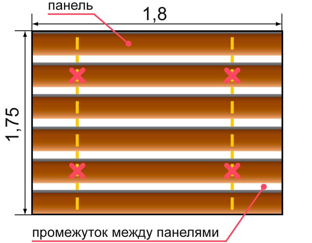Пример расчета потолка для дизайна 84 O″