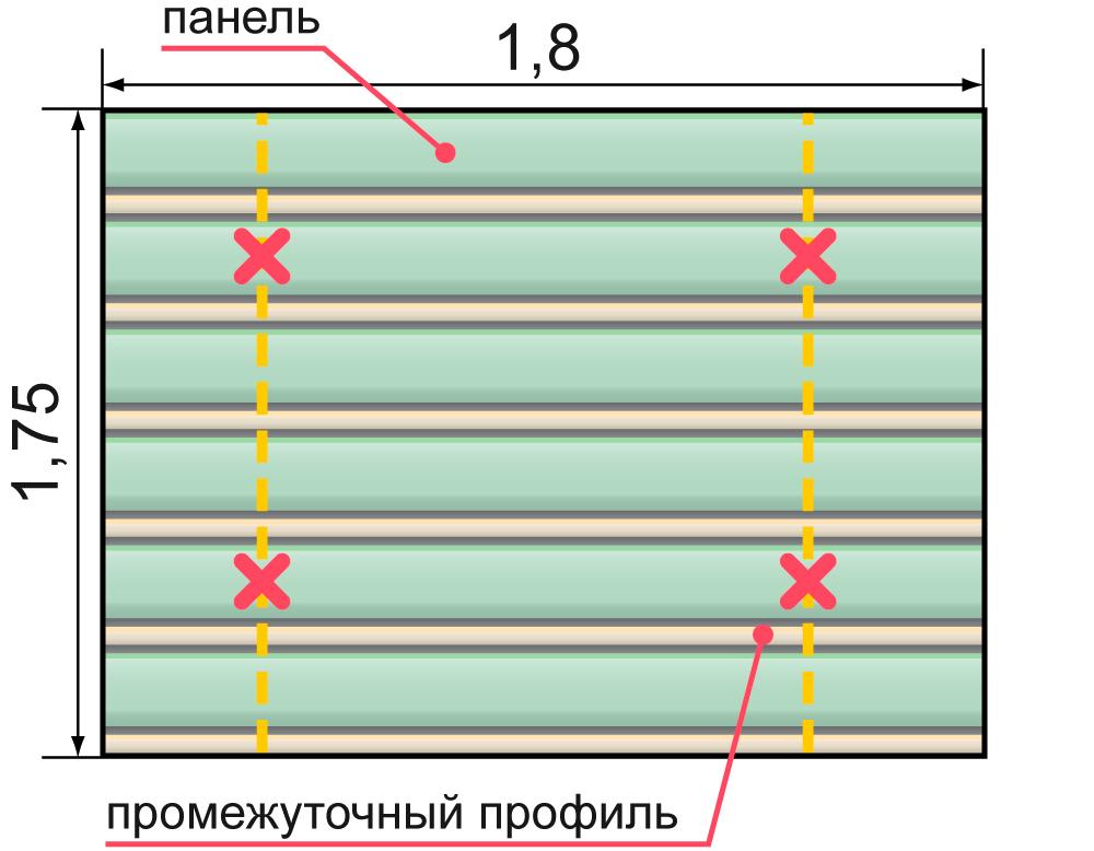 Пример расчета потолка для дизайна 84 R и 84 R(V)