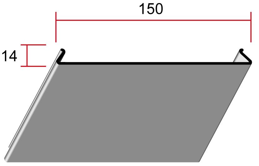 Потолочная панель 150P, 150*14мм, длина до6м