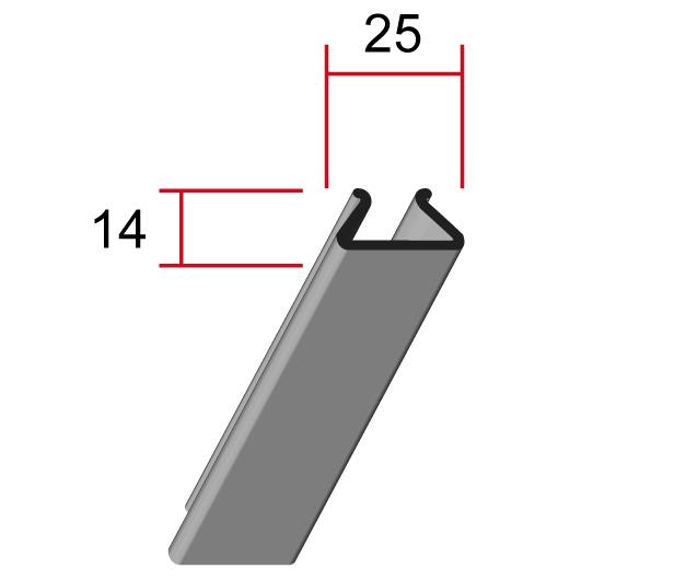 Потолочная панель 25P, 25*14мм, длина до6м