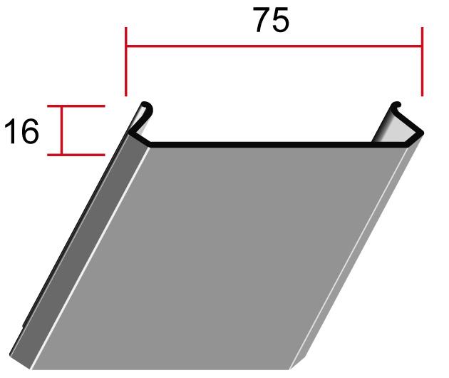 Потолочная панель 75C, 75*16мм, длина до6м