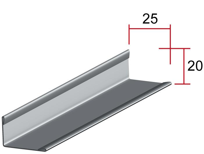 Закрывающий профиль Г, 25*20мм, длина до6м