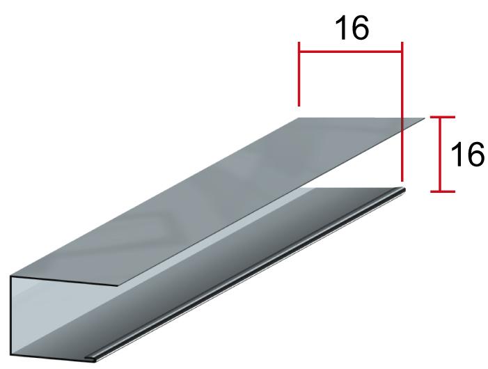 Закрывающий профиль П, 16*16мм, длина до6м