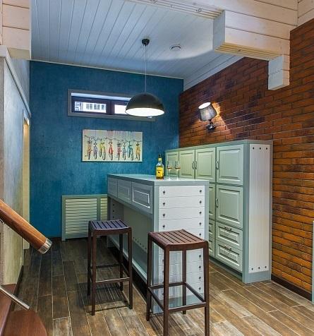 Голубой реечный потолок кантри. USA Ceiling Group
