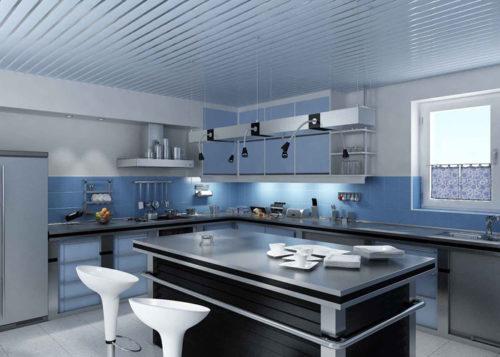 Голубой реечный потолок Лофт. USA Ceiling Group