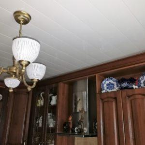 Белый реечный потолок в гостиной. USA Ceiling Group