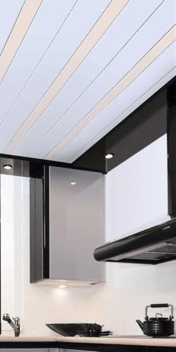 Голубой реечный потолок в кухне. USA Ceiling Group