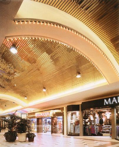 Реечный потолок золотой аркой в торговом центре. USA Ceiling Group