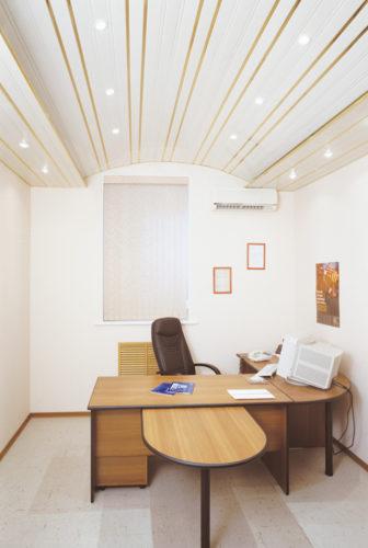 Реечный потолок аркой в кабинете. USA Ceiling Group