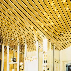 Реечный потолок зеркальное золото. USA Ceiling Group.