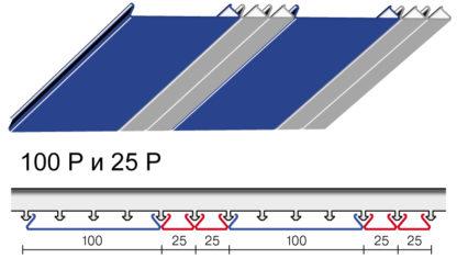 Вариант дизайна 100 P и 25 P реечного потолка