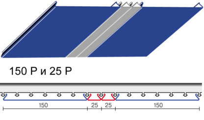 Вариант дизайна 150 P и 25 P реечного потолка