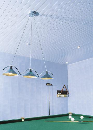 Голубой реечный потолок в бильярдной. USA Ceiling Group