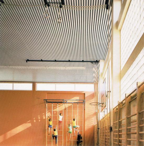 Реечный потолок в спортзале. USA Ceiling Group.